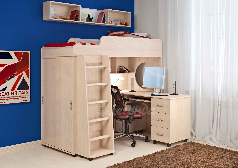 Кровать чердак сказка 5 венге светлый+письменный стол - кров.