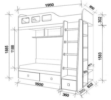 Двухъярусная кровать Астра 3-9