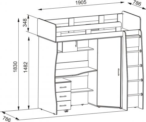 Кровать-чердак Карлсон-М1-9