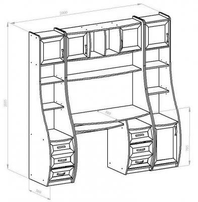 Компьютерный стол КС-1К Беркут со стеллажами-1