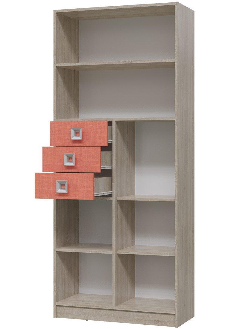 Сити 6-9414 шкаф стеллаж с дверкой и ящиками купить в интерн.