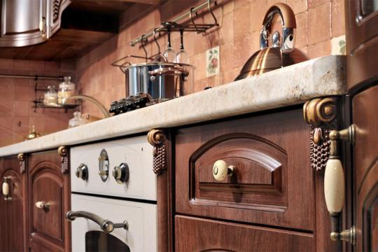 Кухня Мадлен угловая 1,44х3,70, текстура караваджо-2