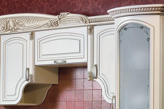 Кухня Мадлен угловая текстура крем-5