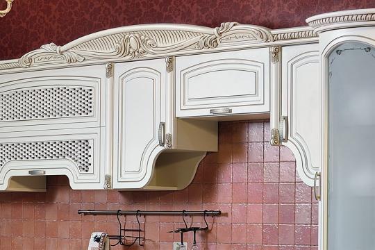 Кухня Мадлен угловая текстура крем-4
