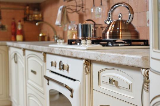 Кухня Мадлен угловая текстура крем-6
