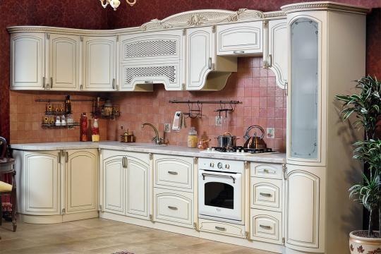 Кухня Мадлен угловая текстура крем-7