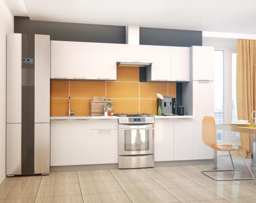 Кухня ПРЕМЬЕРА металлик (оранжевый и белый металлик)-2