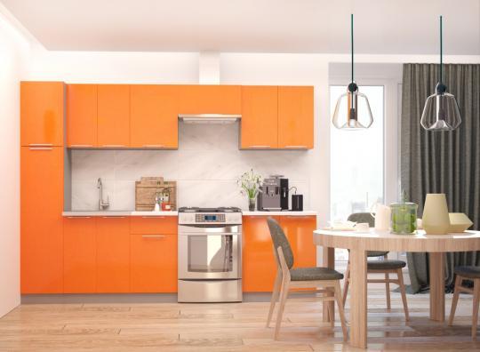 Кухня ПРЕМЬЕРА металлик (оранжевый и белый металлик)-5