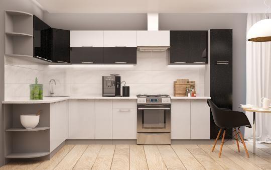 Кухня ПРЕМЬЕРА металлик (оранжевый и белый металлик)-8