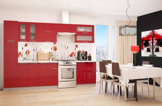 Кухня ПРЕМЬЕРА металлик (рубин и белый металлик)-6