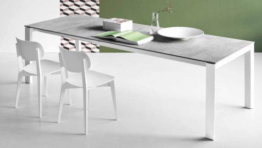 Стол металлический EMINENCE 160 белый / серый дуб-2