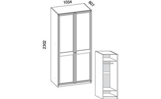 Шкаф с полками и зеркальной дверью П-49, П-43Л, П-43П.-1