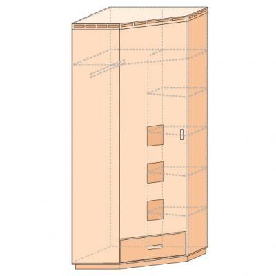Шкаф для платья и белья угловой Кери Голд-1