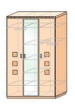 Шкаф для платья и белья 3-дверный с зеркалом Кери Голд-1