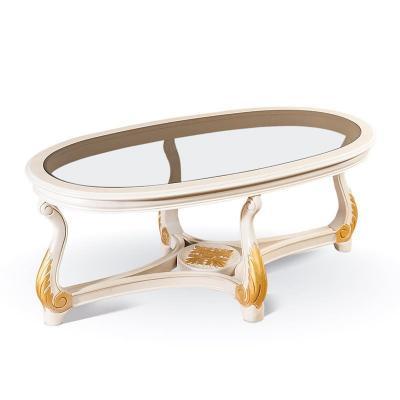 Стол журнальный со стеклом, цвет Орех с золотом арт. 19-1