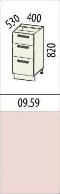 Стол с 3 ящиками 09.59 (40 см.)/09.66 (60 см.)/09.67 (80 см.) Оранж-9-1