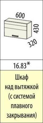 Шкаф над вытяжкой (с системой плавного закрывания) 16.82 (50 см.)/16.83 (60 см.) Рио-16-2