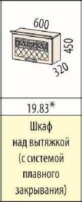 Шкаф над вытяжкой (с системой плавного закрывания) 19.82/19.83 Тиффани-19-2