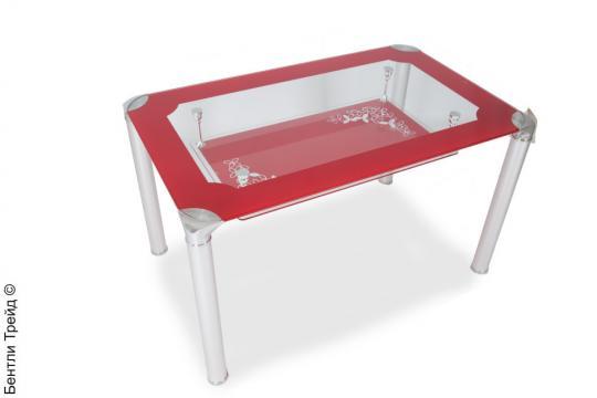 Стол обеденный S206 (100) Red/Silver-1