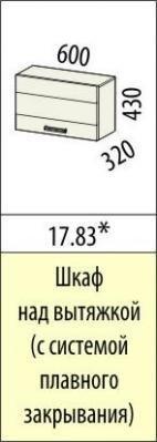 Шкаф над вытяжкой (с системой плавного закрывания) 17.82/17.83 Тропикана-17-2