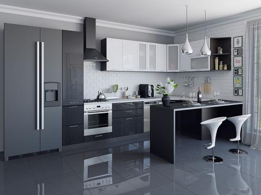 Кухня угловая Валерия-М (Белый металлик/Черный металлик)-2