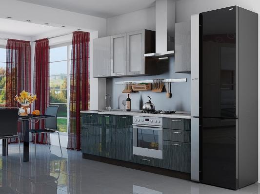 Кухня угловая Валерия-М (Серый металлик дождь/Черный металлик дождь)-2