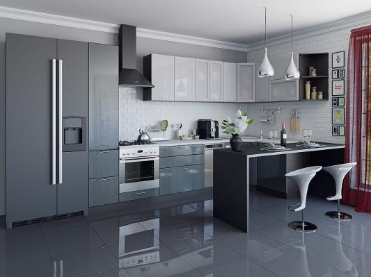Кухня угловая Валерия-М (Серый металлик дождь/Черный металлик дождь)-3