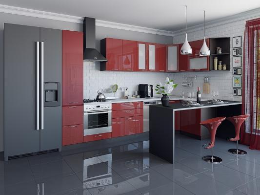 Кухня угловая Валерия-М (Гранатовый металлик)-3