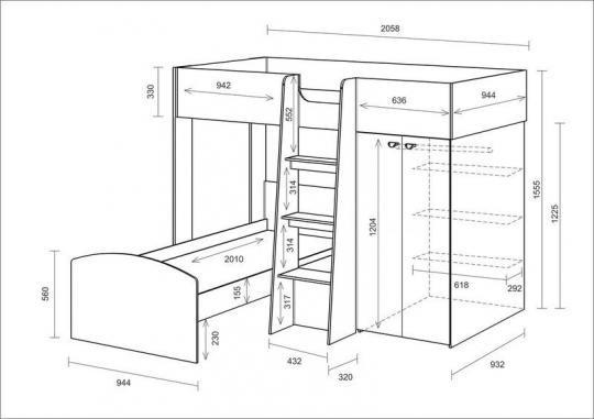 Двухъярусная кровать Golden Kids 4 (дуб сонома/венге)-1