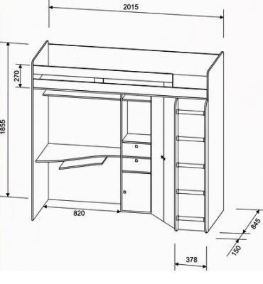 Кровать-чердак Астра дуб молочный-1