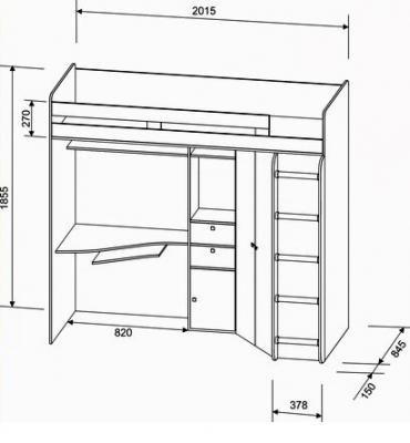 Кровать-чердак Астра розовый-1