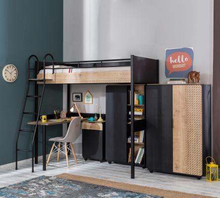 Кровать-чердак со столом Black 1402 Compact -1