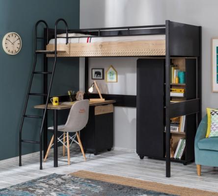 Кровать-чердак со столом Black 1402 Compact -2