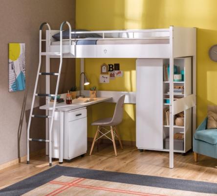 Кровать-чердак со столом WHITE 1402 Compact -1