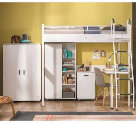 Кровать-чердак со столом WHITE 1402 Compact -2