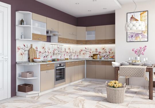 Кухня Адель (Белый глянец/Дуб Тортуга)-1