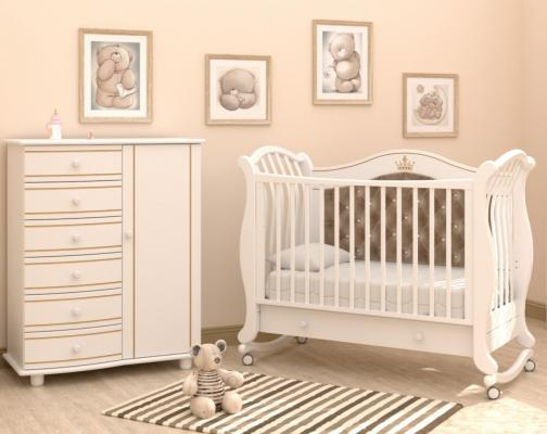 Детская кроватка на колесах Габриэлла Люкс Плюс (белая ночь)-2