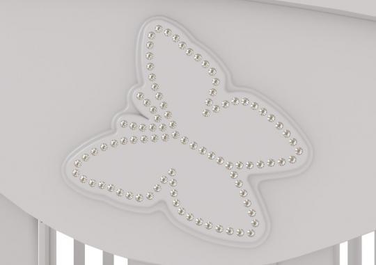 Детская кроватка-качалка Джулия Бабочка (орех)-1