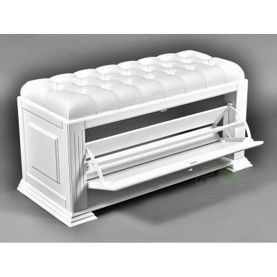 Комплект в прихожую EL 7001 / EL 4124 White Snow кожа белая, крючки серебро-1