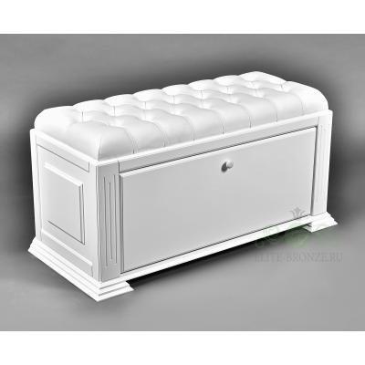 Комплект в прихожую EL 7001 / EL 4124 White Snow кожа белая, крючки серебро-2