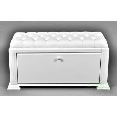 Комплект в прихожую EL 7001 / EL 4124 White Snow кожа белая, крючки серебро-3