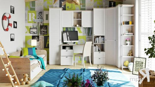 Набор детской мебели «Ривьера» №2 (Дуб Бонифацио/Белый)-1
