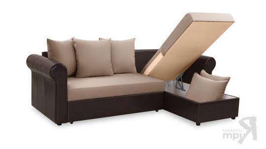 Диван угловой «Мэдиссон» Рогожка Concept 08 т-бежевый, кожзам Neo 12 коричневый-4