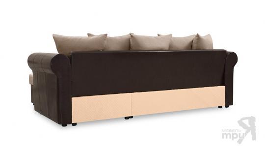 Диван угловой «Мэдиссон» Рогожка Concept 08 т-бежевый, кожзам Neo 12 коричневый-2