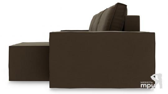 Диван угловой правый «Стенли Т1» Beauty 04 (велюр) коричневый-3