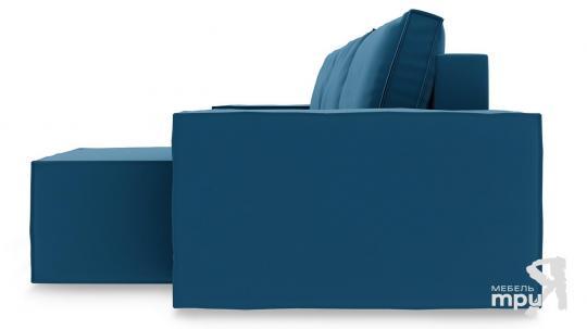 Диван угловой правый «Стенли Т1» Beauty 07 (велюр) синий-3