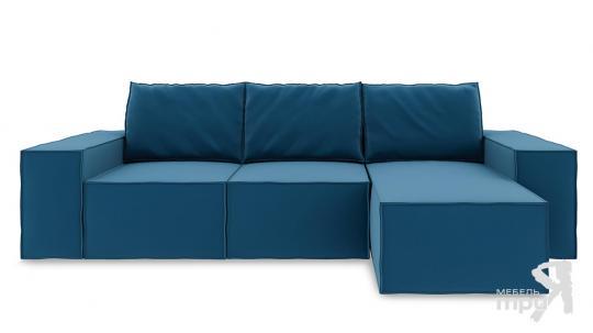 Диван угловой правый «Стенли Т1» Beauty 07 (велюр) синий-1