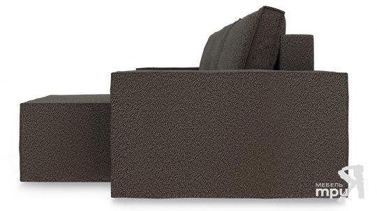 Диван угловой правый «Стенли Т1» Miami 04 (рогожка) темно-коричневый-3