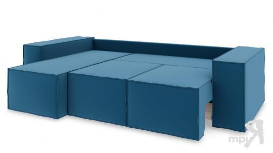 Диван угловой левый «Стенли Т1» Beauty 07 (велюр) синий-6