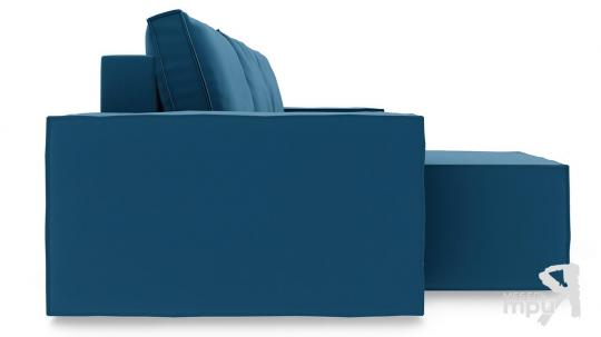 Диван угловой левый «Стенли Т1» Beauty 07 (велюр) синий-3